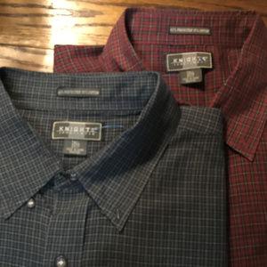 2 Big Tall Shirts 3XLT Knights Sportswear Checks